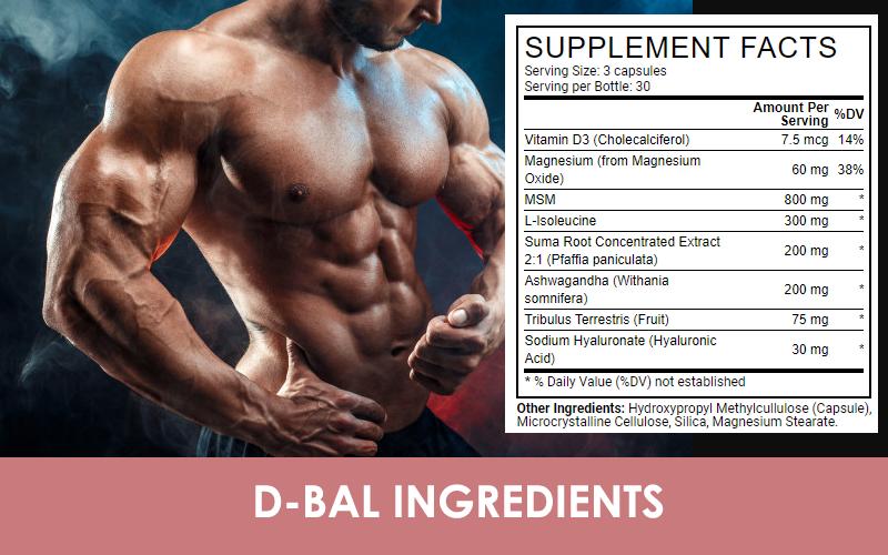 Ingredients in Crazy Bulk D-bal supplements